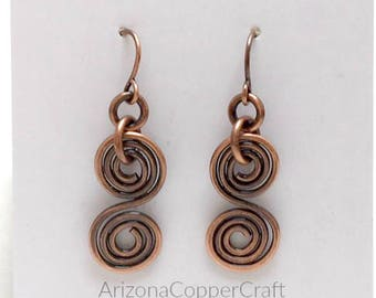 Copper Wire Earrings, Double Spiral Earrings, Gifts, Ready To Ship, Most Sold Item, 7th Anniversary Gift, ArizonaCopperCraft, FREE SHIPPING