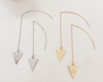 Gold plated/ Silver large triangle threaded earrings
