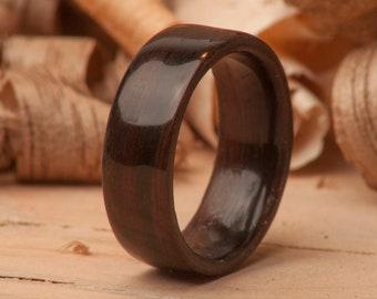 Ash Lining Brazilian Mahogany on an Olive Ash Handmade Bentwood Ring