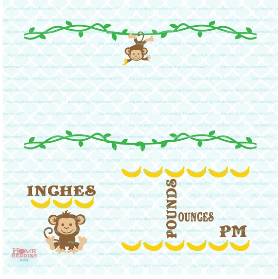 Jungle Themed Baby Birth Announcement Stats Statistics Etsy
