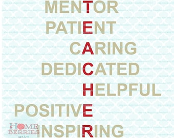 Teacher Appreciation Acrostic Poem Mentor Patient Caring Dedicated Helpful Positive Inspiring svg dxf eps jpg ai files for cutting machines
