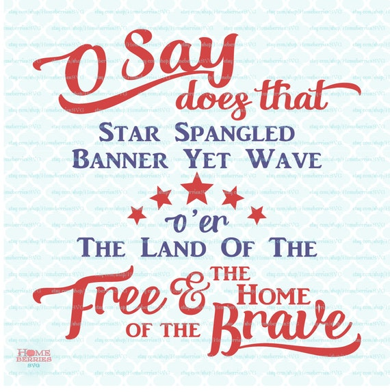 Star Spangled Banner Subway Art July 4th Land Of The Free Home Etsy