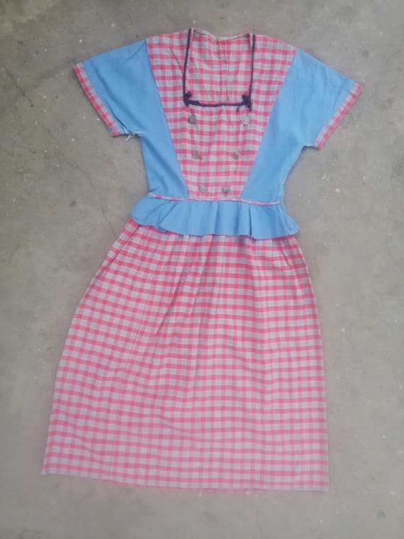 Vintage dirndl dress 1940s 40s 30s cotton plaid gi