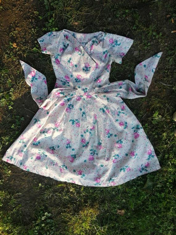 Vintage dress 1950s 50s cotton pinafore
