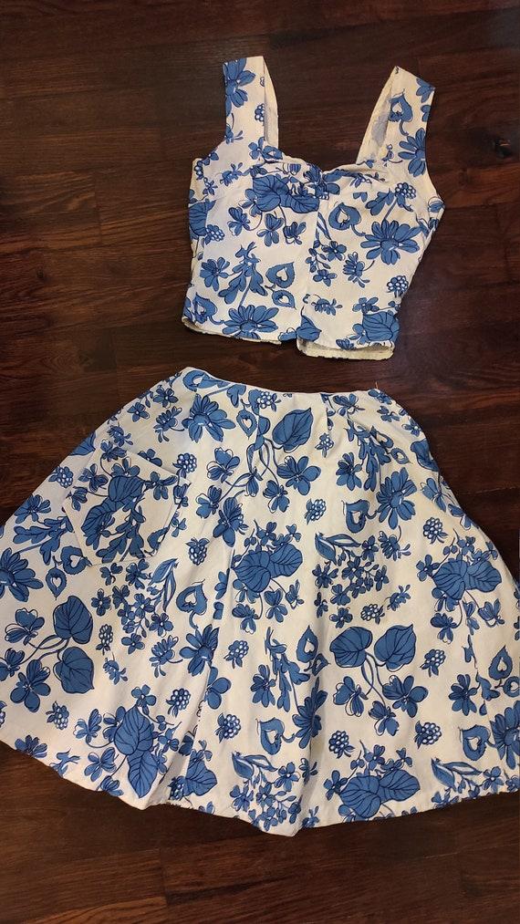 Vintage cotton floral set skirt top dress 1940s 40