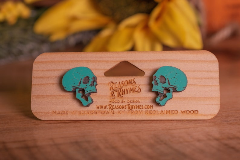 Wood Skull Earrings  Teal Color  Made with reclaimed sapele image 0
