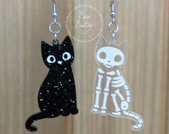 Acrylic Black Cat Skeleton Earrings, Halloween Jewelry, Spooky Kitty, Galaxy, Silver Glitter, October 31st, Costume, Love Cats, Animal Shape
