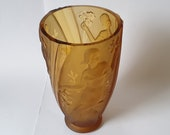 NEW LISTING Gorgeous Art Deco Amber Part Frosted Glass S Reich Classical Ladies Design Vase c.1934