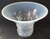 NEW LISTING Stylish Art Deco Lalique Style Joseph Inwald Barolac Opalescent Glass Roses Vase