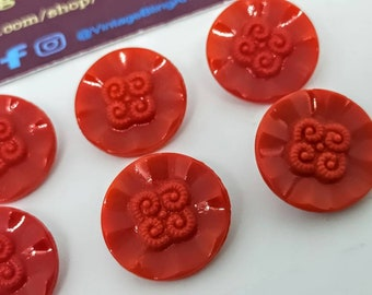 Vintage Burgundy Glass Shell Buttons 21mm.
