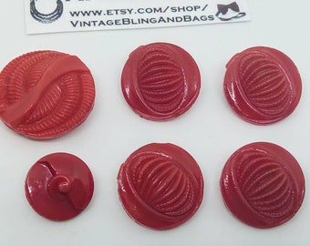 red  buttons art deco glass buttons 6 14mm vintage BRIGHT RED glass buttons sewing notions new old stock vintage red glass buttons
