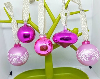 5 80s 90s vintage baubles pink vintage bauble pink vintage christmas decorations pink christmas baubles baubles - Pink Christmas Decorations Ideas