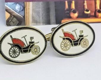 White Enamel Antique Carriage Car Vintage Cufflinks for Men