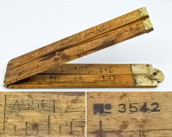 Brass Folding Meter Ruler French Antique Meter Collectibles Tools 1940s