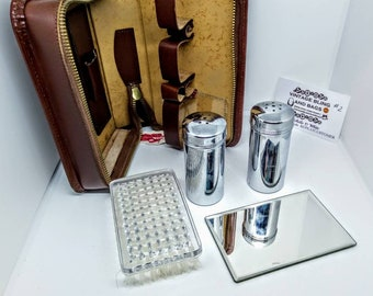 check out 7a2f1 20f2a Items similar to Leather Mens Vanity Set/ Chromium plated ...