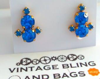 Clip on earrings, vintage earrings, 50s earrings, rhinestone earrings, blue rhinestone earrings, wedding rhinestone earrings, blue earrings