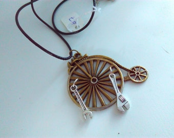Penny farthing, necklace, penny farthing pendant, steampunk, Steampunk necklace, handmade steampunk, bikes, penny farthing, bicycle, #7
