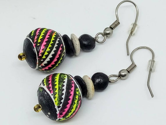 1980s 45mm neon drop earrings, Vintage, 1980s vint