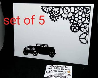 PACK OF CARDS, blank card, steampunk card, masculine card, cards for men, cars, paper cut card, vintage car card, card, mens birthday card