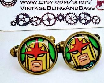 NOVA Handmade cufflinks, handmade Nova cufflinks, superhero cufflinks, wedding cufflinks, marvel comics cufflinks, Nova Valentine's day gift