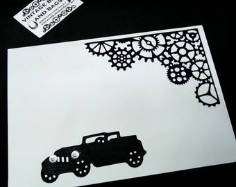 Handmade card, blank card, steampunk card, masculine card, cards for men, cars, paper cut card, vintage car card, card, mens birthday card