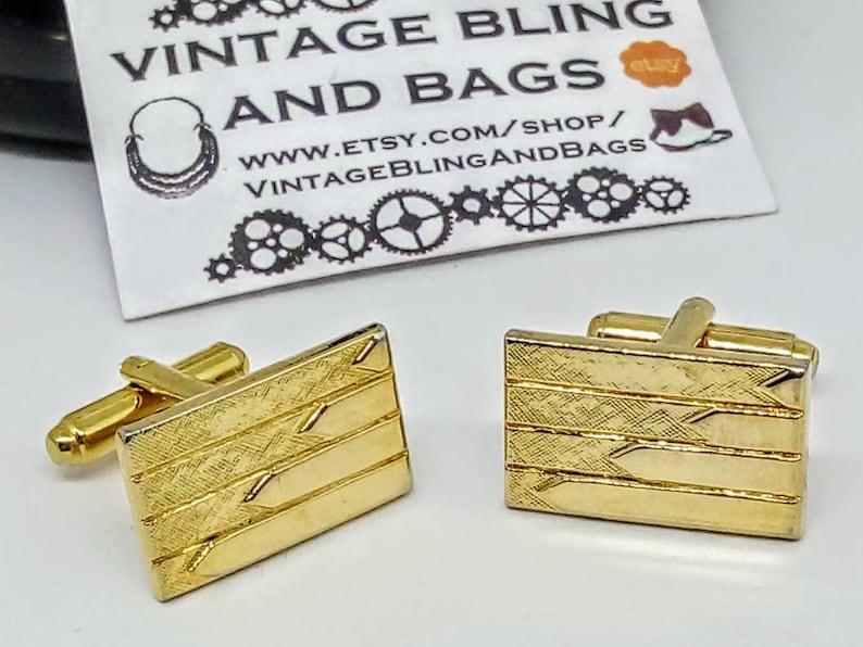 vintage wedding cufflinks 22x14mm Vintage cufflinks vintage goldtone cufflinks bridegroom/'s cufflinks vintage rectangular cufflinks