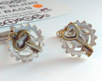 Handmade steampunk, silvertone steampunk cufflinks, Steampunk cufflinks, steampunk jewelry, handmade steampunk cufflinks, bridegroom, cogs