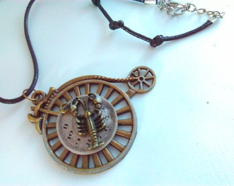 Penny farthing, necklace, penny farthing pendant, steampunk, Steampunk necklace, handmade steampunk, penny farthing, bicycle, lobster, #5