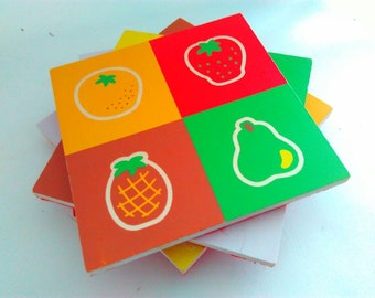 1 Upcycled, drinks coasters, coaster, wooden coasters, recycled coasters, fruit coasters, handmade coaster, housewarming gift, coasters