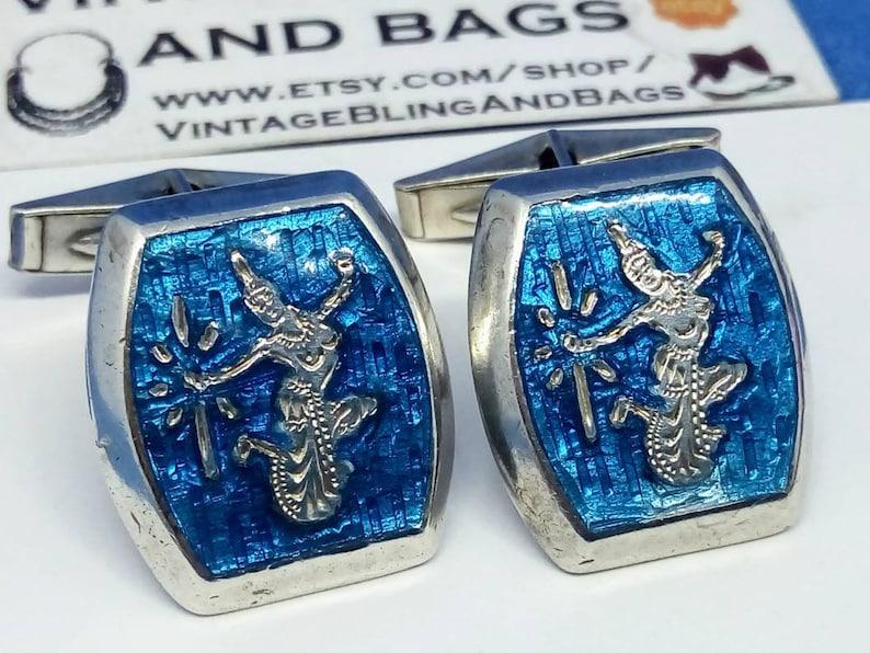 Vintage silver cufflinks vintage 1960s cufflinks 30x28mm 1960s sterling silver cufflinks blue enamel cuff links Siam silver cufflinks