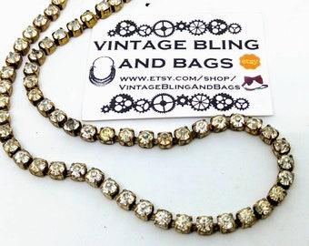 1950s 38cm vintage rhinestone necklace, vintage necklace, clear rhinestone necklace, vintage wedding necklace minimalist rhinestone necklace