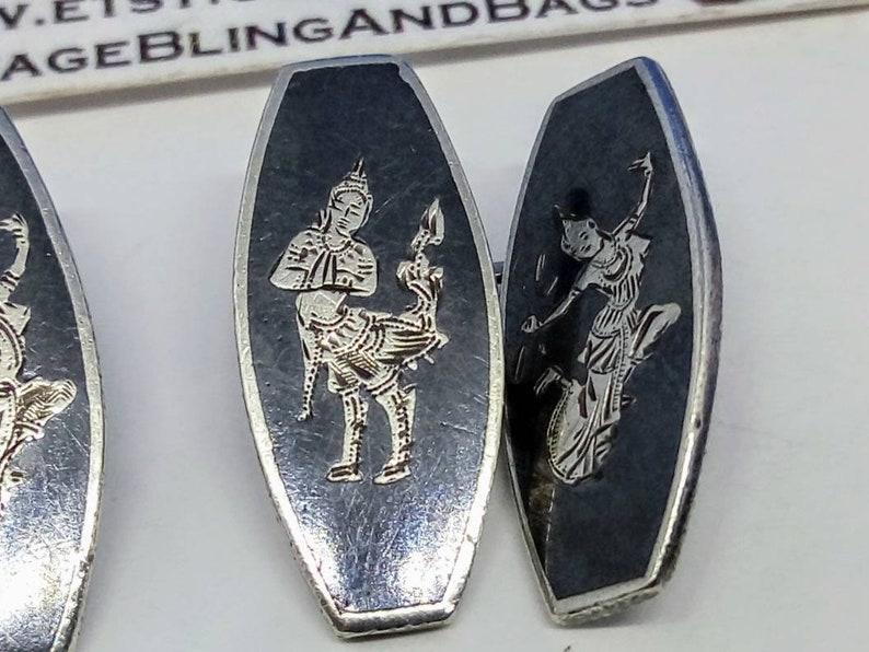 vintage 1960s cufflinks 33x20mm 1960s sterling silver cufflinks Vintage silver cufflinks Siam silver cufflinks Siam silver cuff links