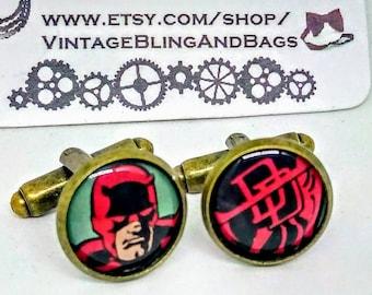 DARE DEVIL Handmade cufflinks, handmade Dare Devil cufflinks, superhero cufflinks, wedding cufflinks, marvel comics cufflinks, Valentine's
