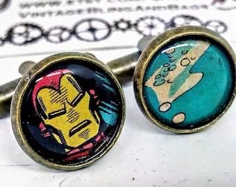IRONMAN Handmade cufflinks, handmade Ironman cufflinks, handmade superhero cufflinks, wedding cufflinks, marvel comics cufflinks, marvel