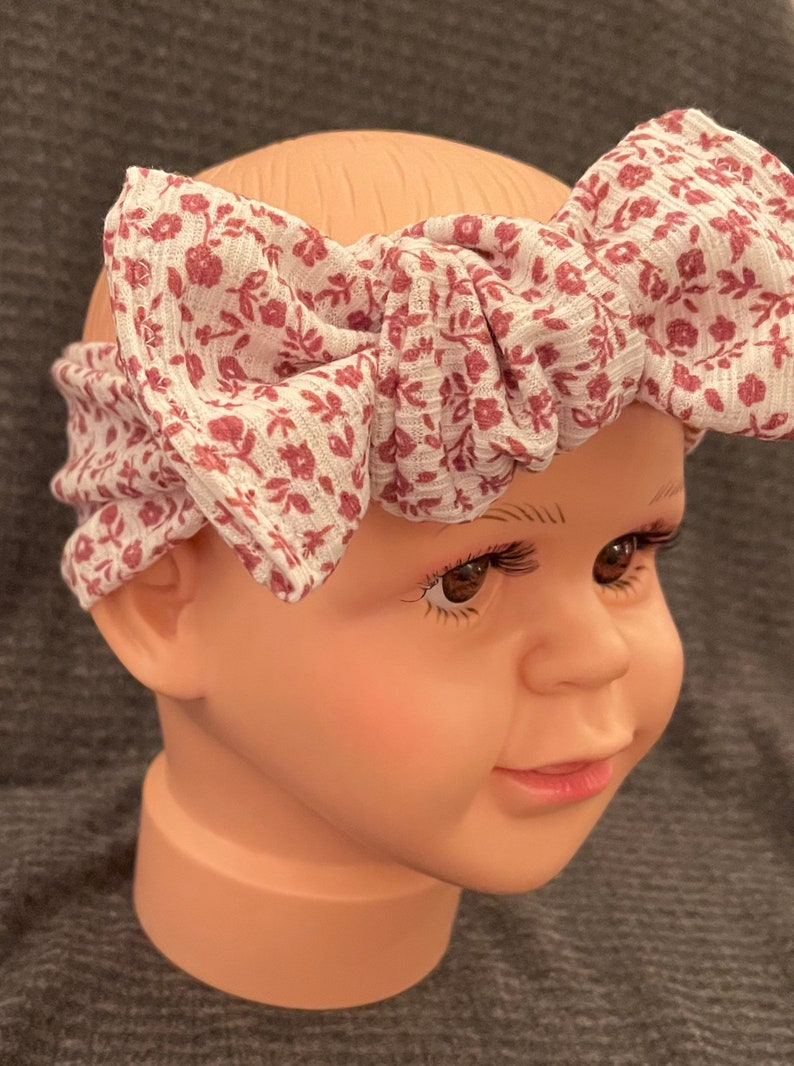 Bow Hand-tied Hair Accessory Baby Turban Tiny Plum Flowers Baby Headband Soft Knit Handmade Stretch
