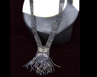 Antique Art Deco 1920s Cut Steel Carvnival Glass Beaded Sautoir Long Flapper Necklace Vintage Lariat Roaring Twenties Gatsby