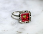 Antique Stuart Crystal Sterling Silver Ring Early 18th Century Stuart Georgian Conversion Piece