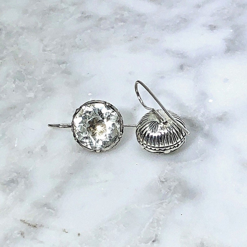 Antique Georgian Silver /& Paste Earrings Stunning Ribbed Setting Wedding New Year/'s Eve