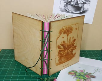 Hand bound Drawing Journal with Engraved Vintage Venus Fly Trap Illustration on Wood Cover, USA Made