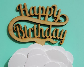 Wood Cupcake Topper - Happy Birthday