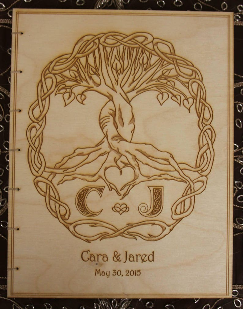 Custom Made with Engraved Wood Cover Custom Wedding Guest Book