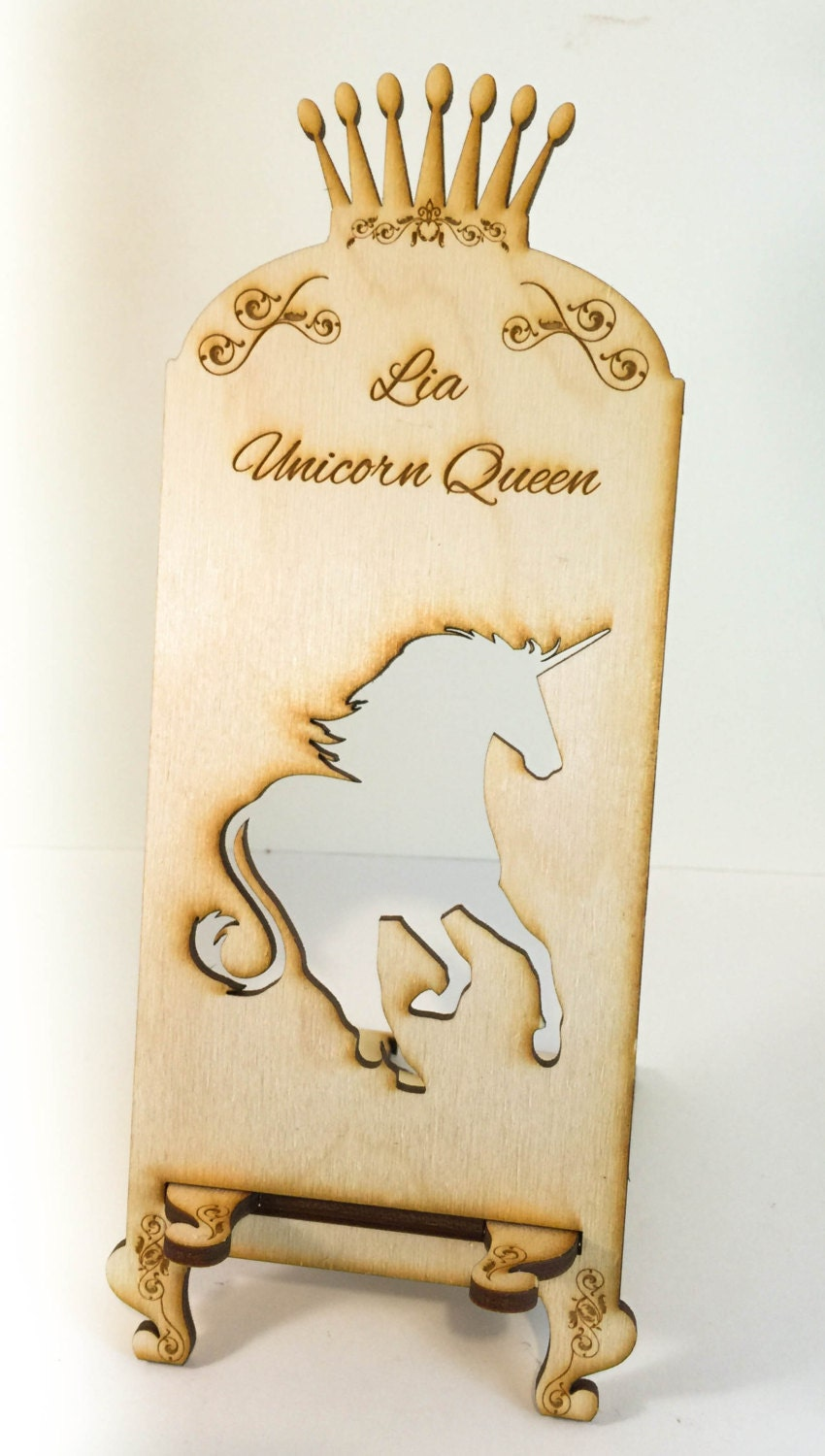 Customizable Wooden Unicorn Cell Phone Stand