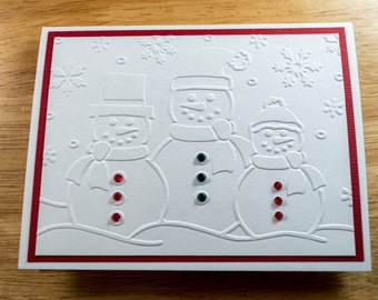 Christmas Card Set, Christmas Cards, Snowmen Cards, Holiday Cards, Embossed Cards, card set, note card, Embellished, Set of 4