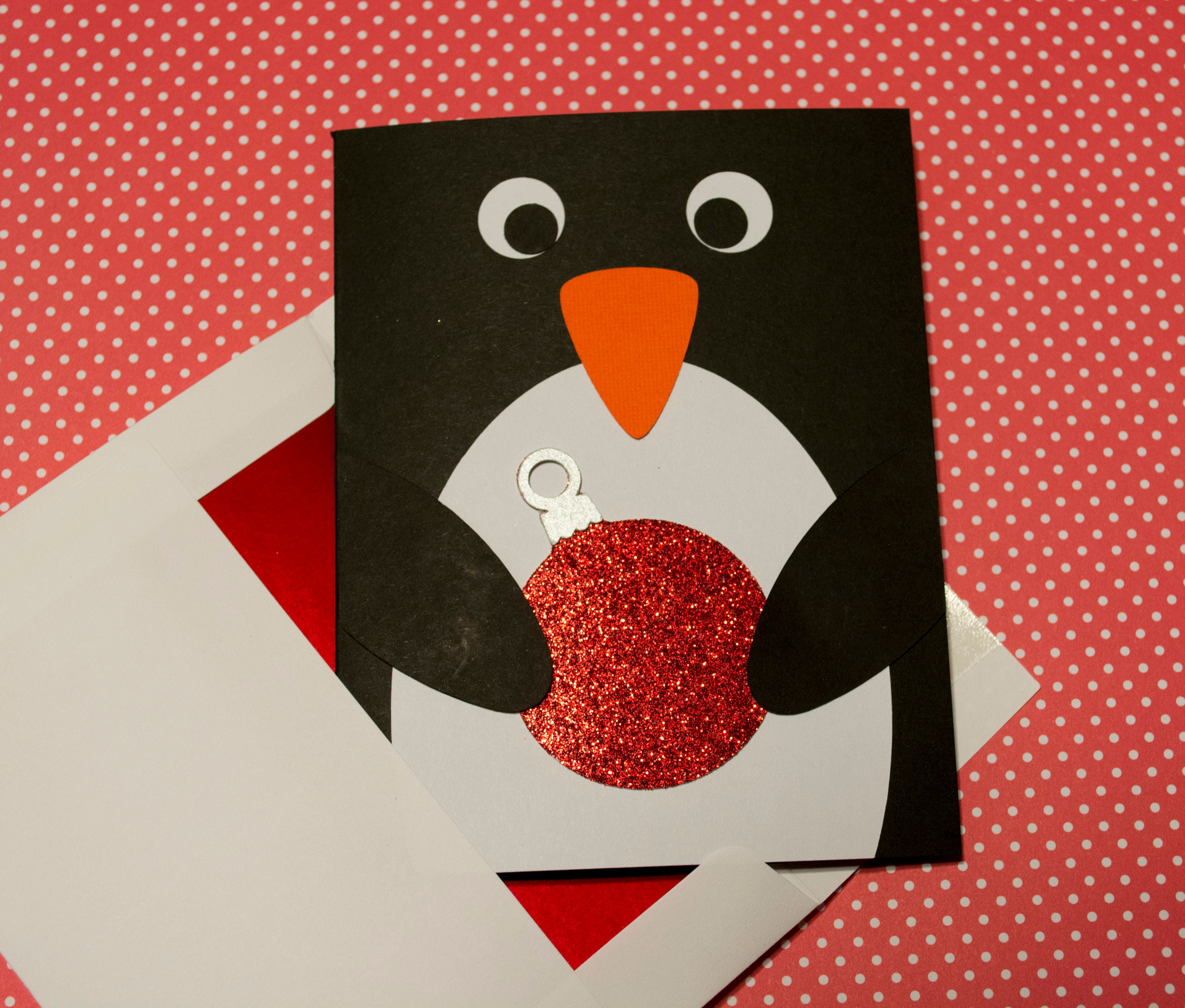 Penguin Christmas Card Holiday Card Penguin with Ornament | Etsy