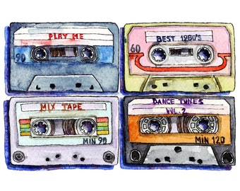 Watercolor painting of a tape cassettes.