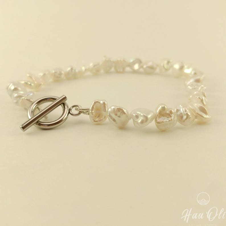 toggle silver hypoallergenic stainless steel freshwater pearls knotted on silk thread double Bracelet 8 inches