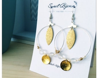 Earrings hoops and beads white and gold