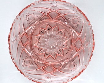 Large pink glass tray or plate , vintage Soviet round glass tray with star pattern and scalloped edge, dressing table tray or cake plate