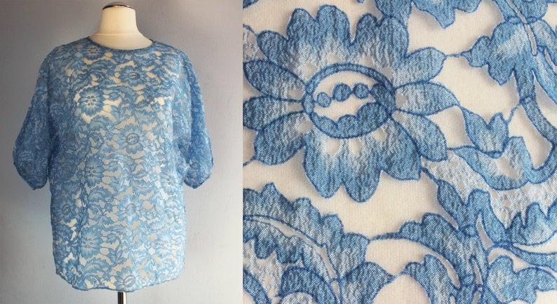 5a5beecbe259 Sheer blue floral chiffon blouse vintage handmade