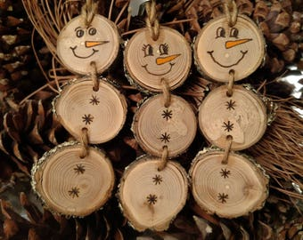 Wood Burned Snowman Christmas Ornaments -- Stacked Snowman Ornaments/Gift Tags with natural moss